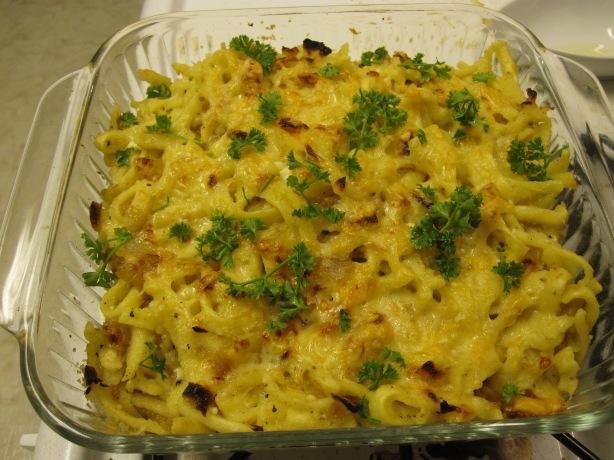 Cheese Spaetzle Noodle Casserole - Kaesespaetzle