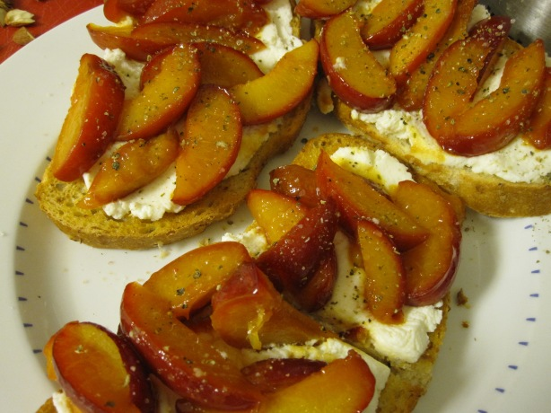 Caramelized Plum-Ricotta Crostini